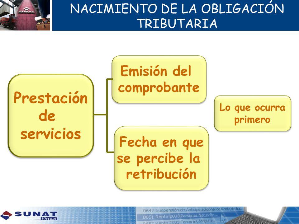 NACIMIENTO DE LA OBLIGACIÓN TRIBUTARIA Prestación de servicios Prestación de servicios Emisión del comprobante Emisión del comprobante Fecha en que se