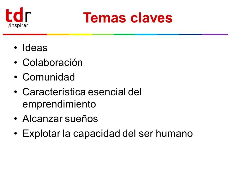 Temas claves Ideas Colaboración Comunidad Característica esencial del emprendimiento Alcanzar sueños Explotar la capacidad del ser humano