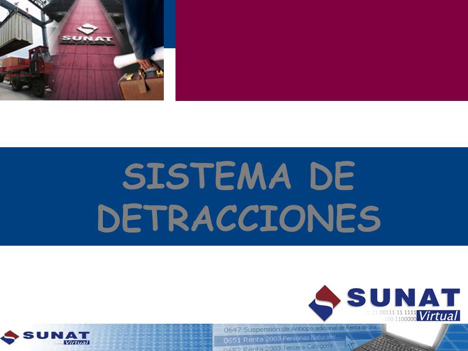 OBJETIVOS PRINCIPALES El Sistema de Pago de Obligaciones Tributarias con el Gobierno Central - SPOT (Sistema de Detracciones), ha venido aplicándose paulatinamente desde el año 2002 y es un mecanismo que tiene el Estado para garantizar el pago del IGV en sectores con alto grado de informalidad.