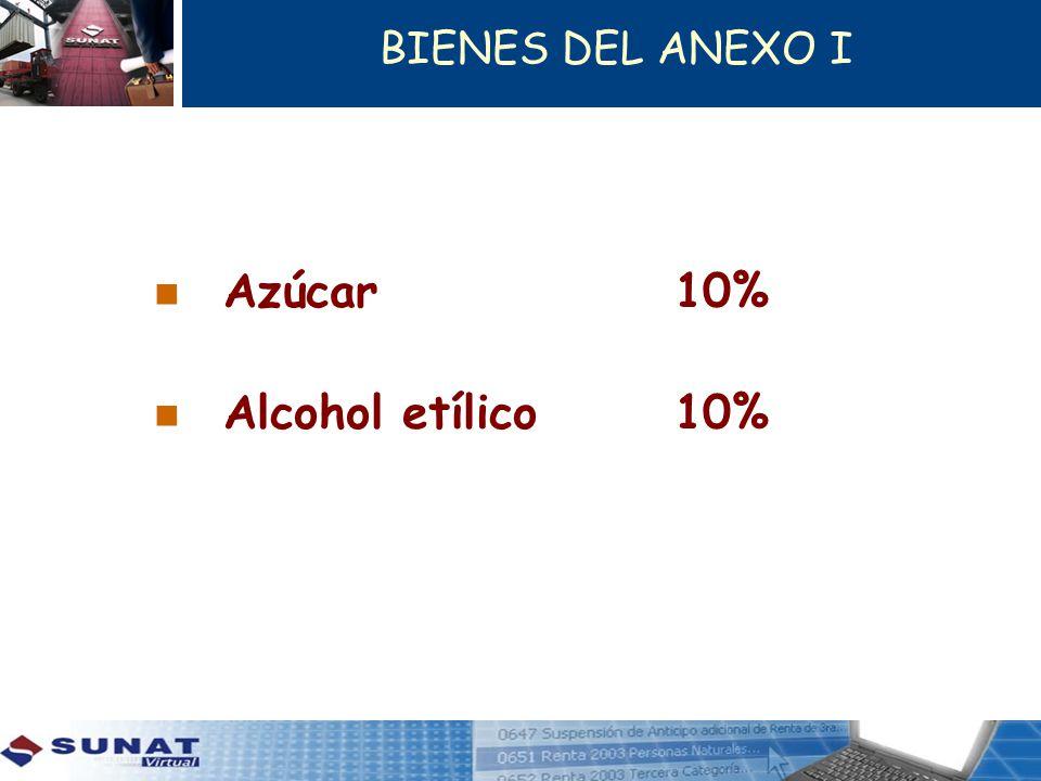 BIENES DEL ANEXO I Azúcar10% Alcohol etílico10%