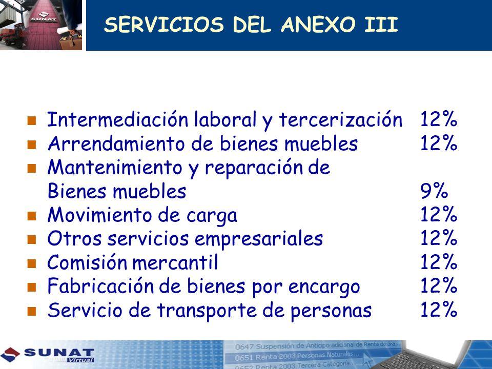 SERVICIOS DEL ANEXO III Intermediación laboral y tercerización12% Arrendamiento de bienes muebles12% Mantenimiento y reparación de Bienes muebles 9% M