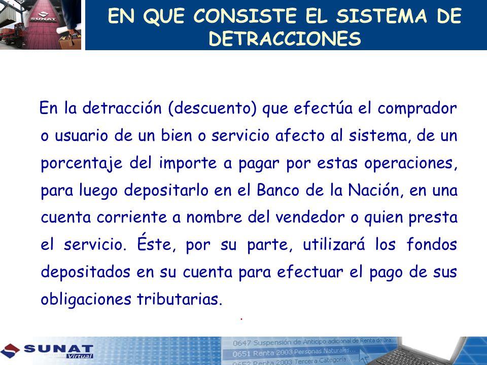 EN QUE CONSISTE EL SISTEMA DE DETRACCIONES En la detracción (descuento) que efectúa el comprador o usuario de un bien o servicio afecto al sistema, de