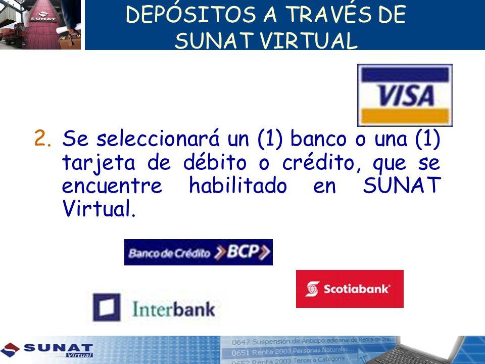 DEPÓSITOS A TRAVÉS DE SUNAT VIRTUAL 2.Se seleccionará un (1) banco o una (1) tarjeta de débito o crédito, que se encuentre habilitado en SUNAT Virtual