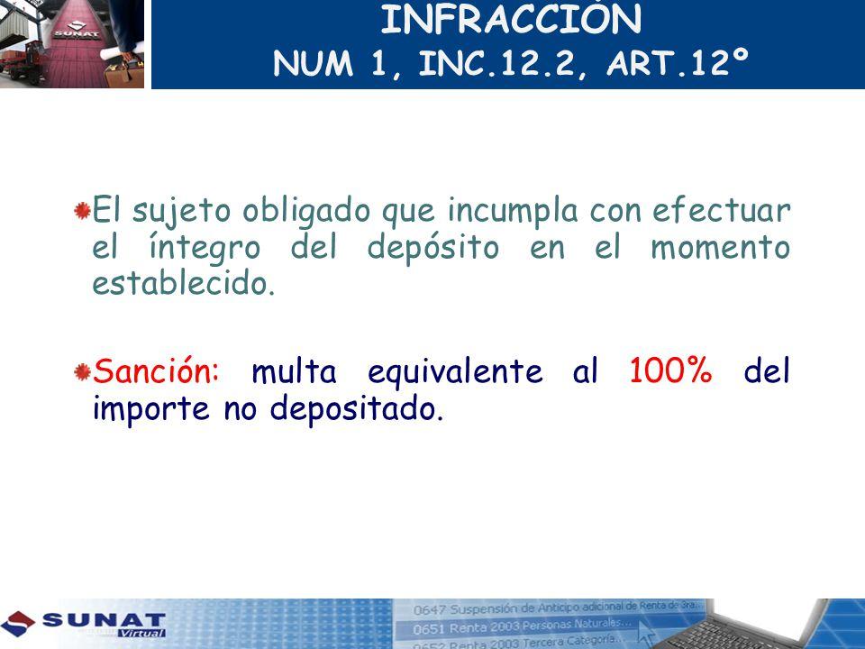 INFRACCIÓN NUM 1, INC.12.2, ART.12º El sujeto obligado que incumpla con efectuar el íntegro del depósito en el momento establecido. Sanción: multa equ