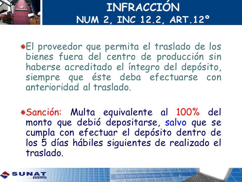 INFRACCIÓN NUM 2, INC 12.2, ART.12º El proveedor que permita el traslado de los bienes fuera del centro de producción sin haberse acreditado el íntegr