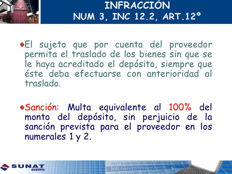 INFRACCIÓN NUM 3, INC 12.2, ART.12º El sujeto que por cuenta del proveedor permita el traslado de los bienes sin que se le haya acreditado el depósito