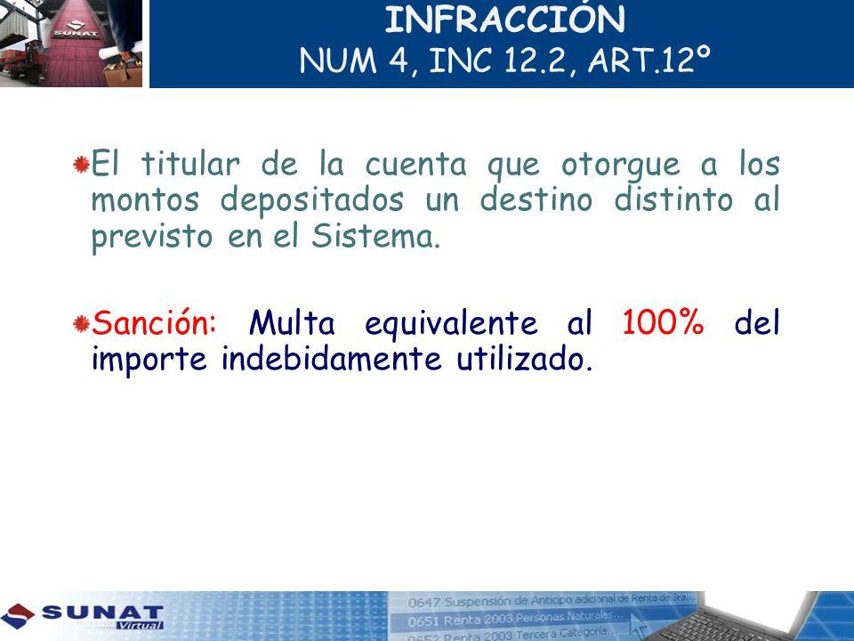 INFRACCIÓN NUM 4, INC 12.2, ART.12º El titular de la cuenta que otorgue a los montos depositados un destino distinto al previsto en el Sistema. Sanció