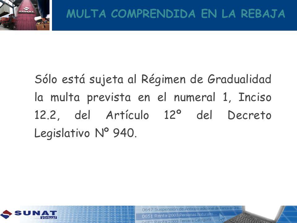MULTA COMPRENDIDA EN LA REBAJA Sólo está sujeta al Régimen de Gradualidad la multa prevista en el numeral 1, Inciso 12.2, del Artículo 12º del Decreto