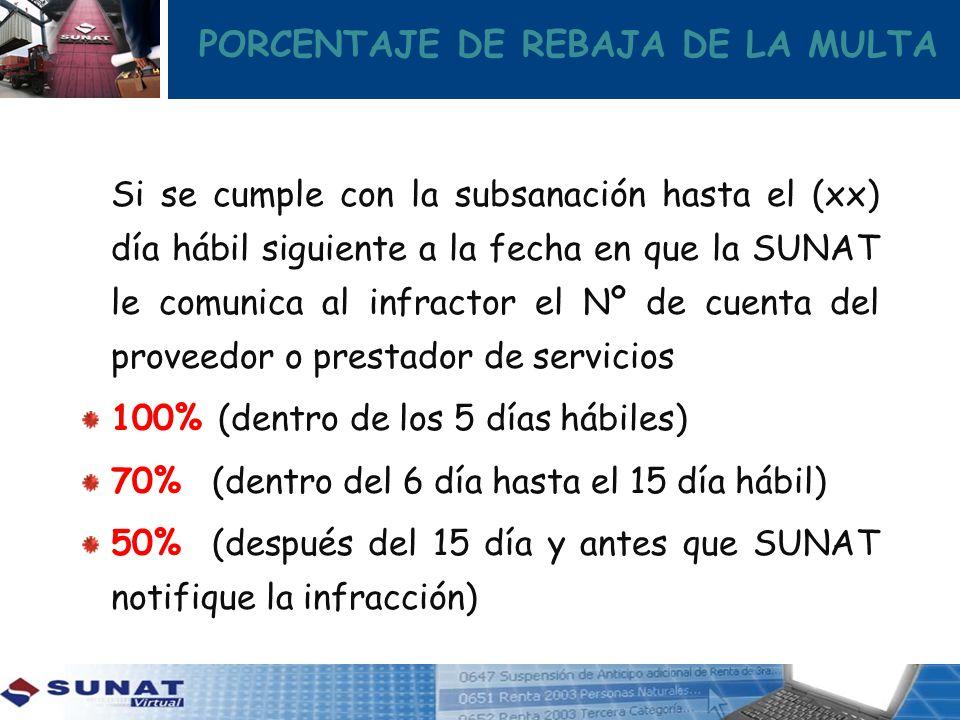 PORCENTAJE DE REBAJA DE LA MULTA Si se cumple con la subsanación hasta el (xx) día hábil siguiente a la fecha en que la SUNAT le comunica al infractor