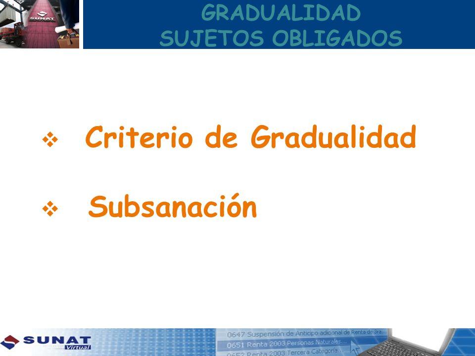GRADUALIDAD SUJETOS OBLIGADOS Criterio de Gradualidad Subsanación