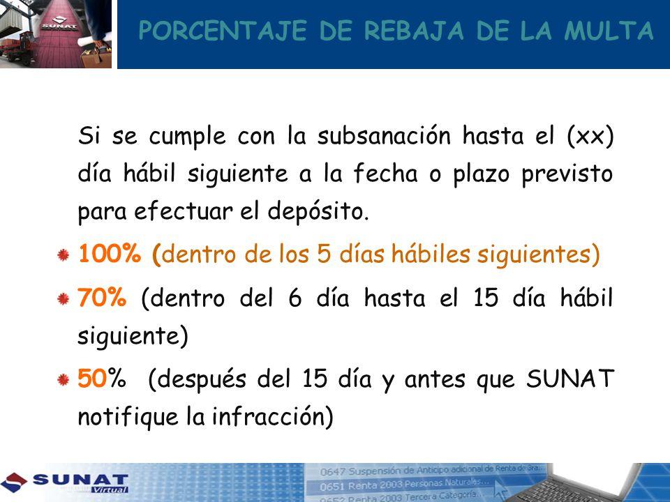 PORCENTAJE DE REBAJA DE LA MULTA Si se cumple con la subsanación hasta el (xx) día hábil siguiente a la fecha o plazo previsto para efectuar el depósi