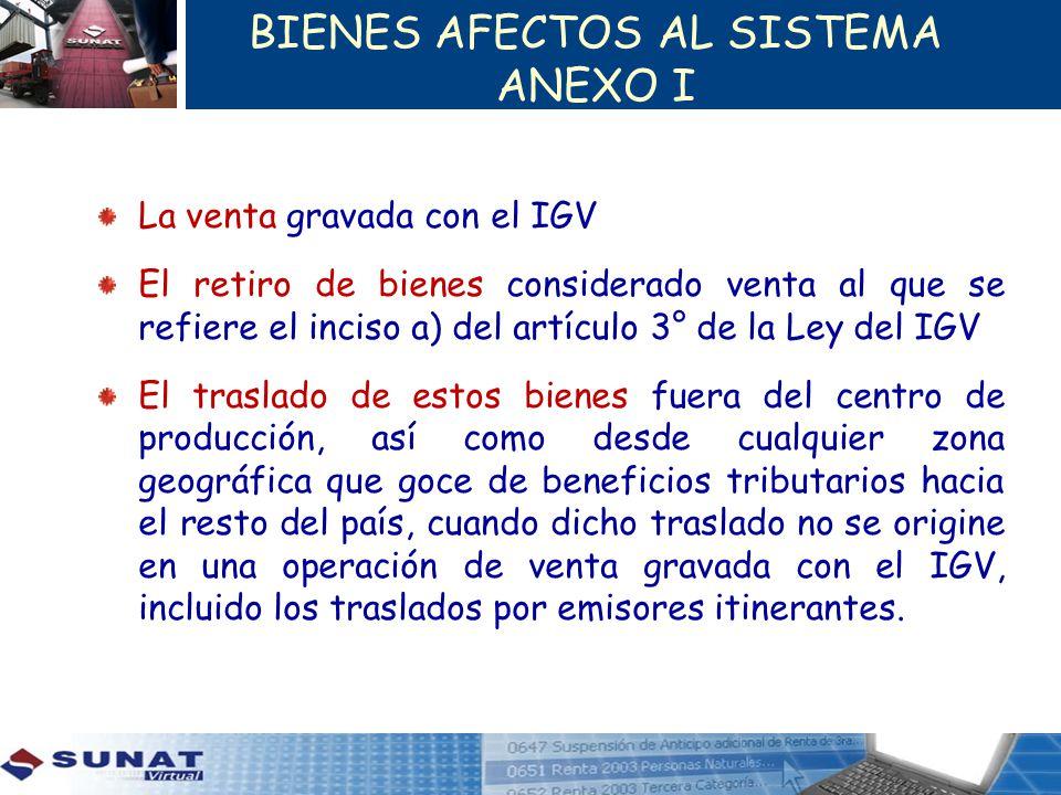 BIENES AFECTOS AL SISTEMA ANEXO I La venta gravada con el IGV El retiro de bienes considerado venta al que se refiere el inciso a) del artículo 3° de