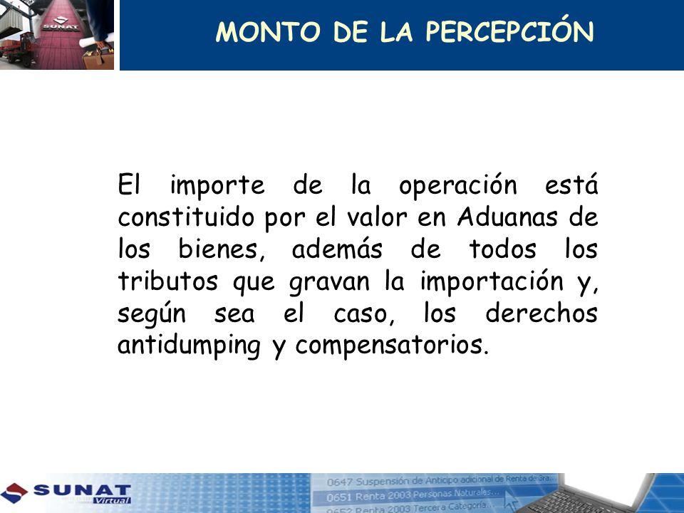 El importe de la operación está constituido por el valor en Aduanas de los bienes, además de todos los tributos que gravan la importación y, según sea