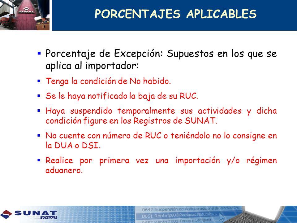 Porcentaje de Excepción: Supuestos en los que se aplica al importador: Tenga la condición de No habido. Se le haya notificado la baja de su RUC. Haya