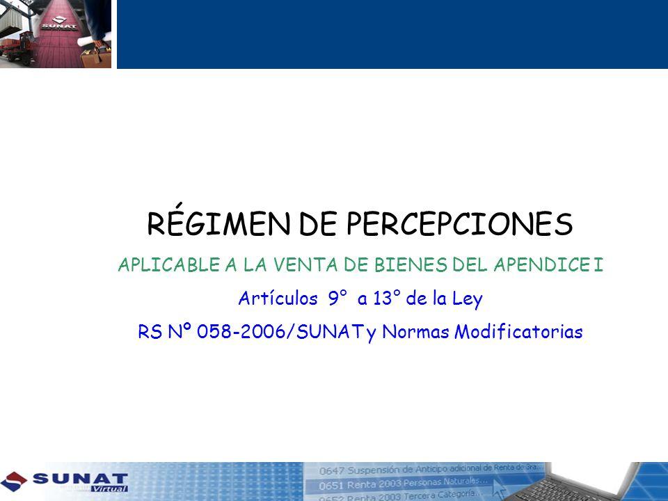 APLICABLE A LA VENTA DE BIENES DEL APENDICE I Artículos 9° a 13° de la Ley RS Nº 058-2006/SUNAT y Normas Modificatorias