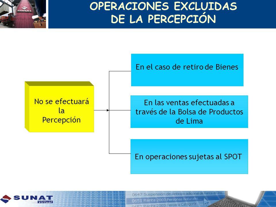 No se efectuará la Percepción En el caso de retiro de Bienes En las ventas efectuadas a través de la Bolsa de Productos de Lima En operaciones sujetas