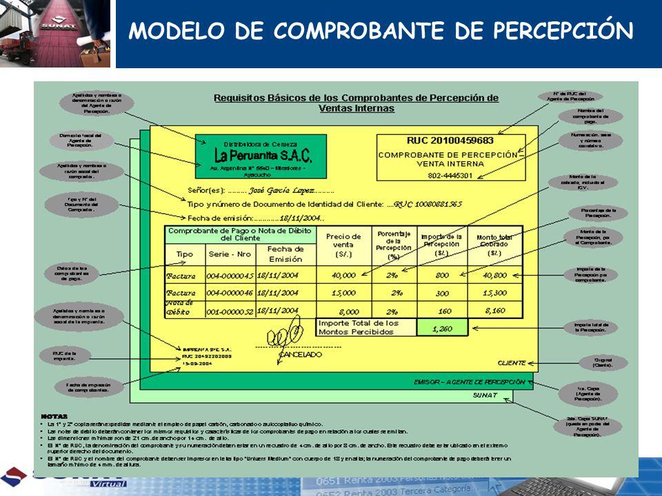 MODELO DE COMPROBANTE DE PERCEPCIÓN