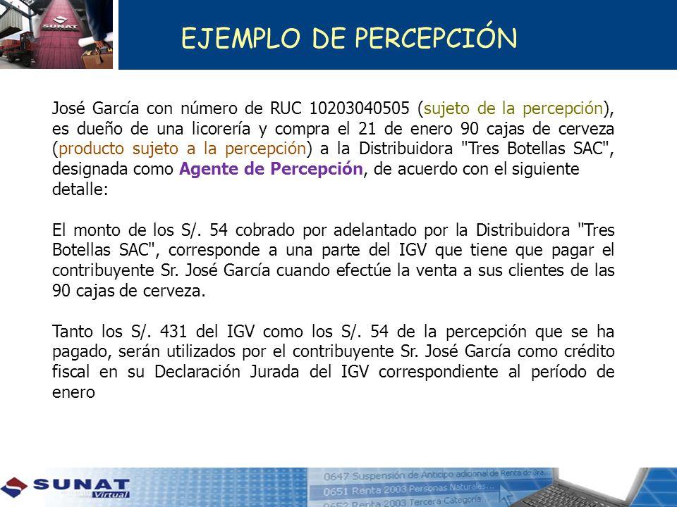 José García con número de RUC 10203040505 (sujeto de la percepción), es dueño de una licorería y compra el 21 de enero 90 cajas de cerveza (producto s