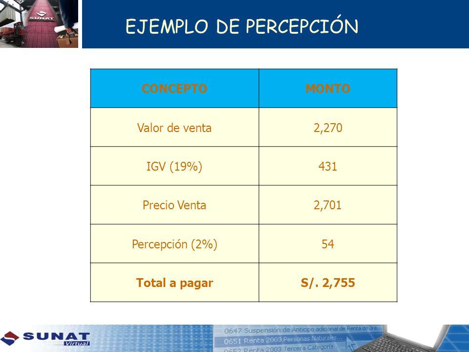 CONCEPTOMONTO Valor de venta2,270 IGV (19%)431 Precio Venta2,701 Percepción (2%)54 Total a pagarS/. 2,755 EJEMPLO DE PERCEPCIÓN