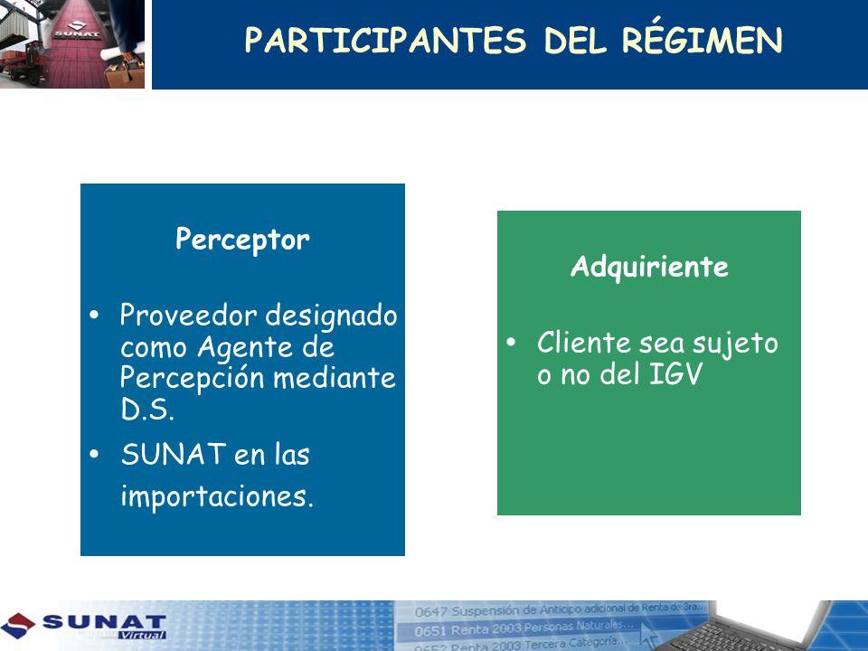 Perceptor Proveedor designado como Agente de Percepción mediante D.S. SUNAT en las importaciones. Adquiriente Cliente sea sujeto o no del IGV PARTICIP