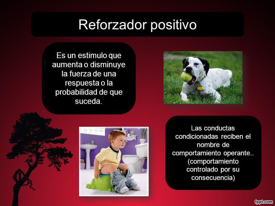 Reforzador positivo Es un estimulo que aumenta o disminuye la fuerza de una respuesta o la probabilidad de que suceda.
