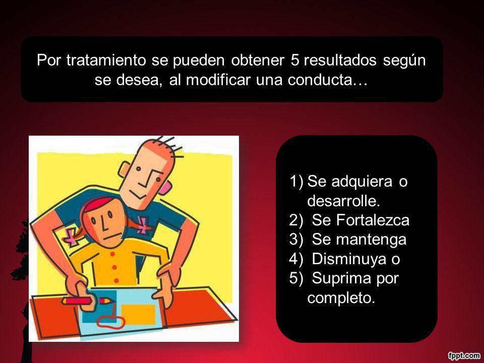Por tratamiento se pueden obtener 5 resultados según se desea, al modificar una conducta… 1)Se adquiera o desarrolle. 2) Se Fortalezca 3) Se mantenga