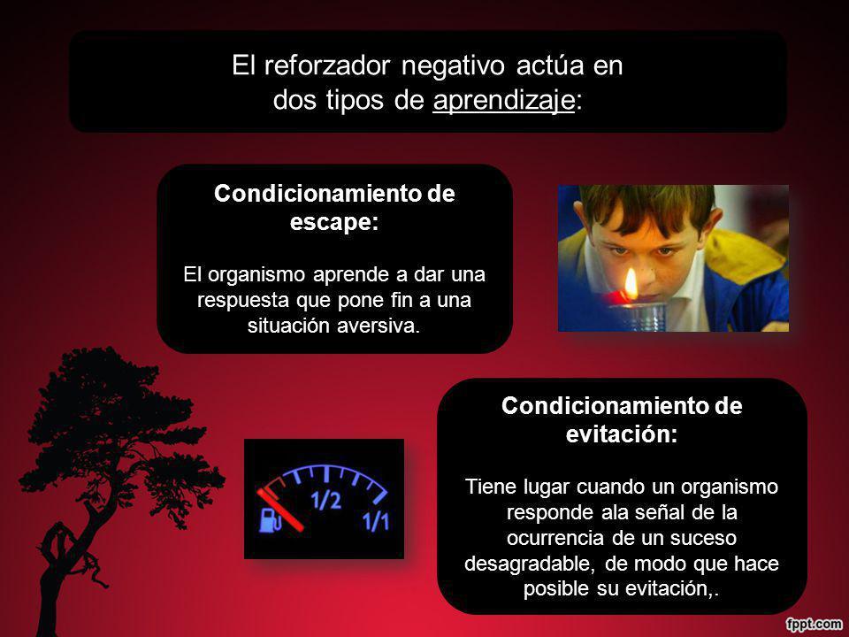 El reforzador negativo actúa en dos tipos de aprendizaje: Condicionamiento de escape: El organismo aprende a dar una respuesta que pone fin a una situ