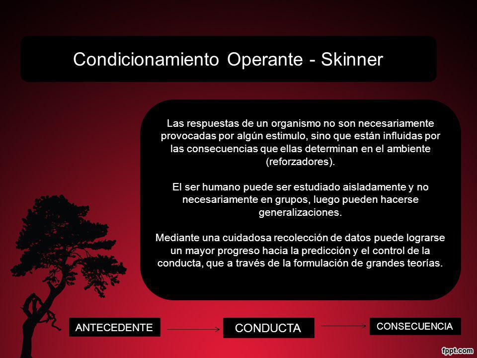 Condicionamiento Operante - Skinner Las respuestas de un organismo no son necesariamente provocadas por algún estimulo, sino que están influidas por las consecuencias que ellas determinan en el ambiente (reforzadores).