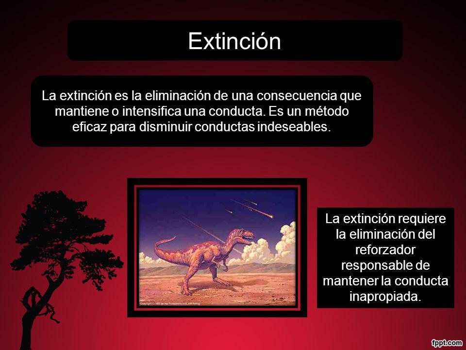 Extinción La extinción es la eliminación de una consecuencia que mantiene o intensifica una conducta. Es un método eficaz para disminuir conductas ind