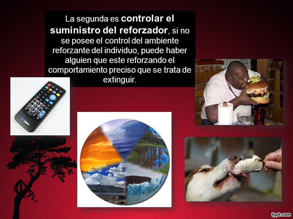 La segunda es controlar el suministro del reforzador, si no se posee el control del ambiente reforzante del individuo, puede haber alguien que este re