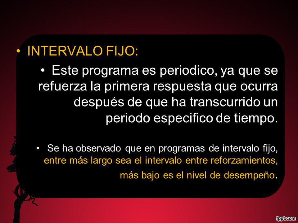 INTERVALO FIJO: Este programa es periodico, ya que se refuerza la primera respuesta que ocurra después de que ha transcurrido un periodo especifico de tiempo.