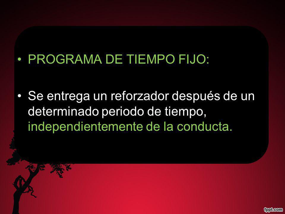PROGRAMA DE TIEMPO FIJO: Se entrega un reforzador después de un determinado periodo de tiempo, independientemente de la conducta.