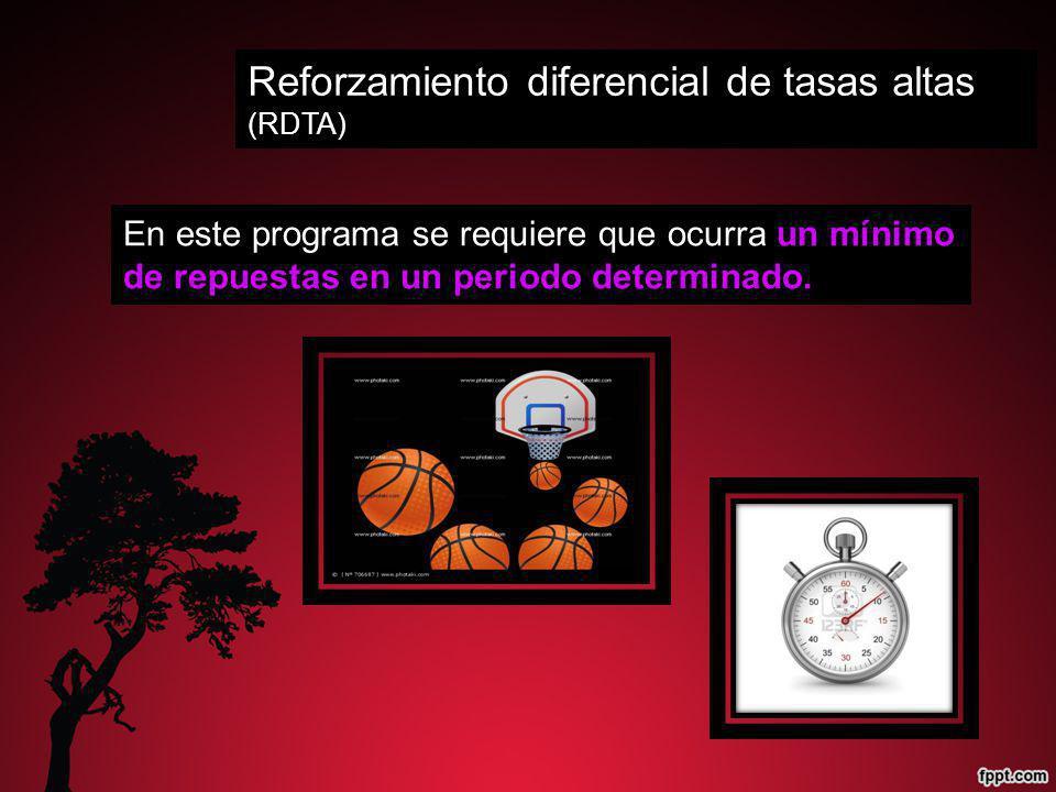 Reforzamiento diferencial de tasas altas (RDTA) En este programa se requiere que ocurra un mínimo de repuestas en un periodo determinado.