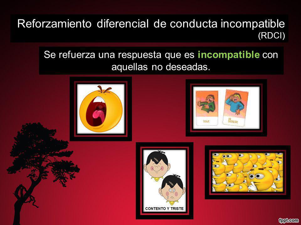 Se refuerza una respuesta que es incompatible con aquellas no deseadas. Reforzamiento diferencial de conducta incompatible (RDCI)