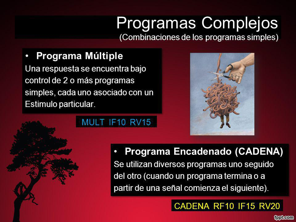 Programas Complejos (Combinaciones de los programas simples) Programa Múltiple Una respuesta se encuentra bajo control de 2 o más programas simples, cada uno asociado con un Estimulo particular.