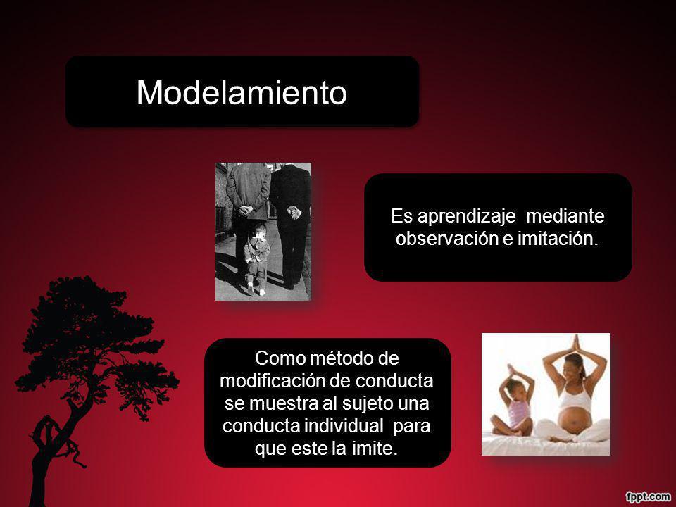 Modelamiento Es aprendizaje mediante observación e imitación. Como método de modificación de conducta se muestra al sujeto una conducta individual par