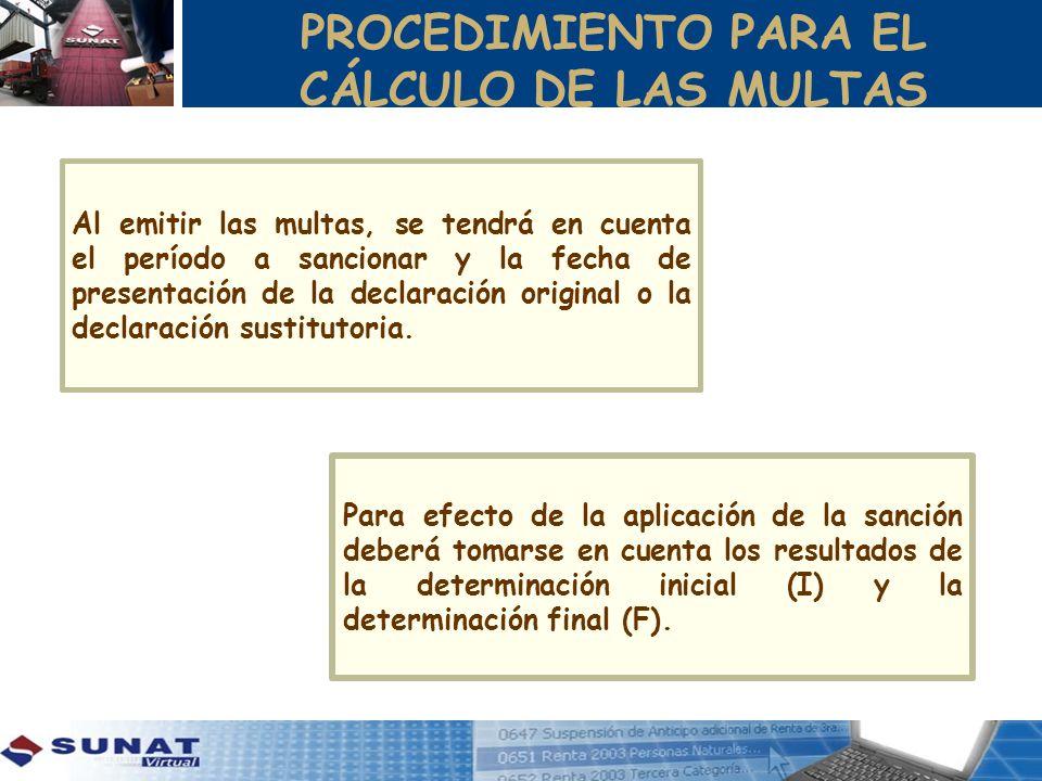 PROCEDIMIENTO PARA EL CÁLCULO DE LAS MULTAS Al emitir las multas, se tendrá en cuenta el período a sancionar y la fecha de presentación de la declaración original o la declaración sustitutoria.
