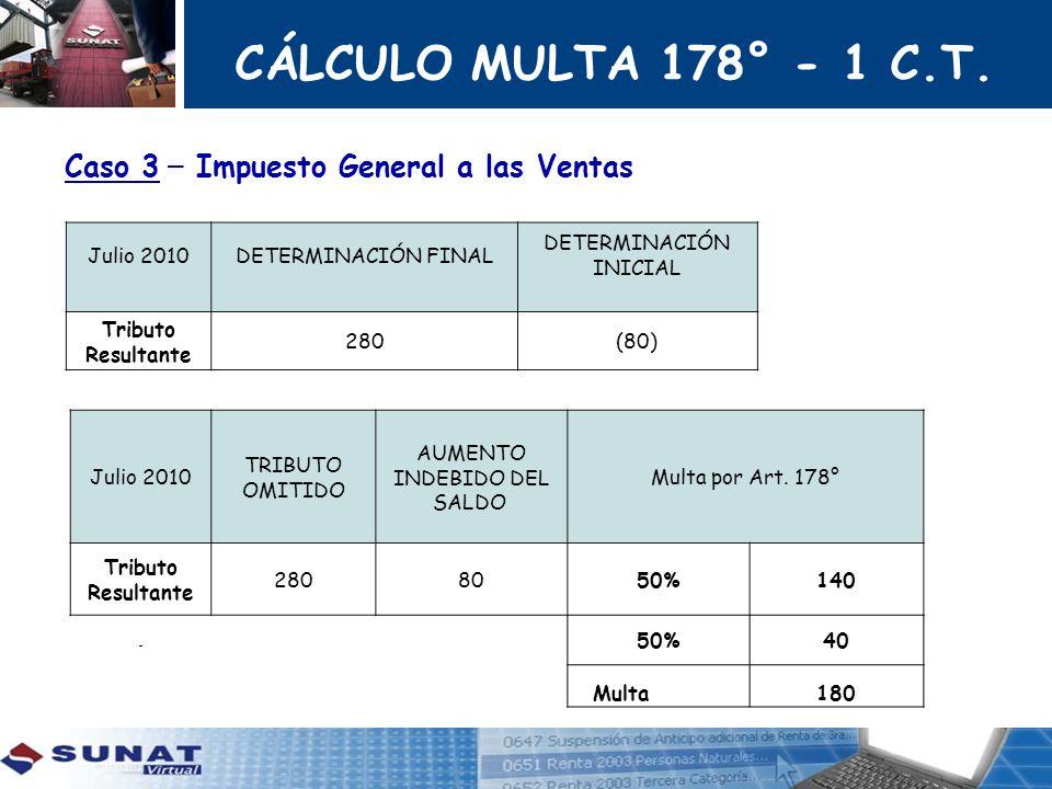 CÁLCULO MULTA 178° - 1 C.T. Caso 3 – Impuesto General a las Ventas Julio 2010 DETERMINACIÓN FINAL DETERMINACIÓN INICIAL Tributo Resultante 280(80) Jul