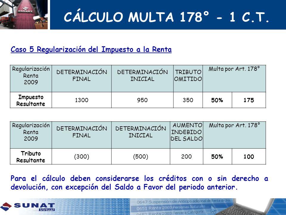 CÁLCULO MULTA 178° - 1 C.T. Caso 5 Regularización del Impuesto a la Renta Para el cálculo deben considerarse los créditos con o sin derecho a devoluci