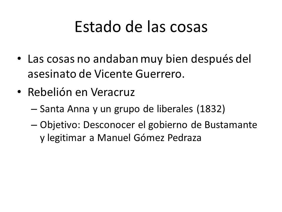 Estado de las cosas Las cosas no andaban muy bien después del asesinato de Vicente Guerrero. Rebelión en Veracruz – Santa Anna y un grupo de liberales