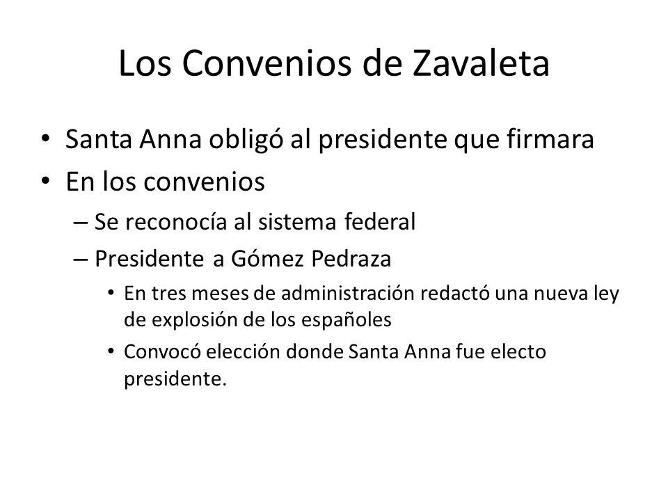 Los Convenios de Zavaleta Santa Anna obligó al presidente que firmara En los convenios – Se reconocía al sistema federal – Presidente a Gómez Pedraza