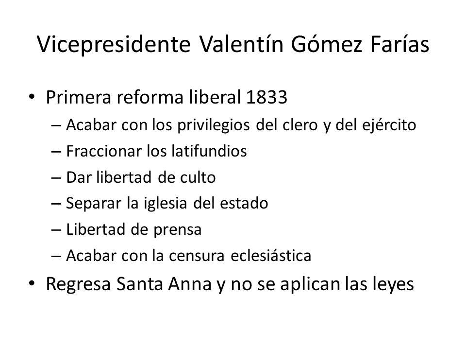 Vicepresidente Valentín Gómez Farías Primera reforma liberal 1833 – Acabar con los privilegios del clero y del ejército – Fraccionar los latifundios –