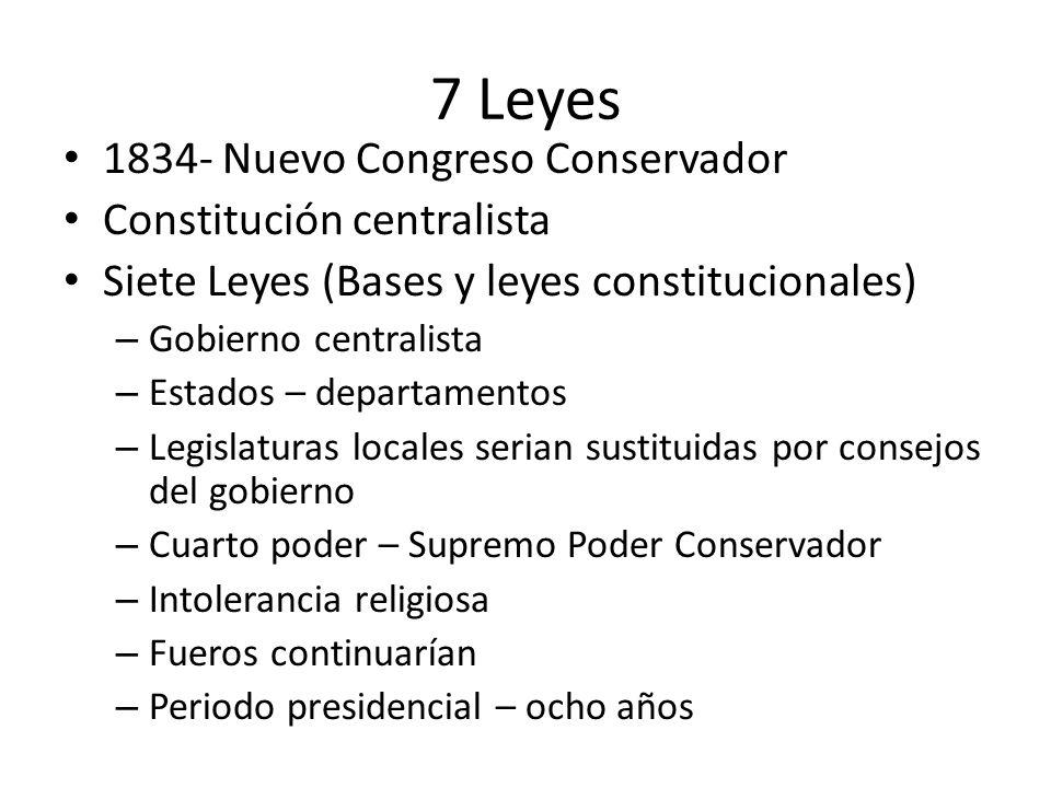 7 Leyes 1834- Nuevo Congreso Conservador Constitución centralista Siete Leyes (Bases y leyes constitucionales) – Gobierno centralista – Estados – depa