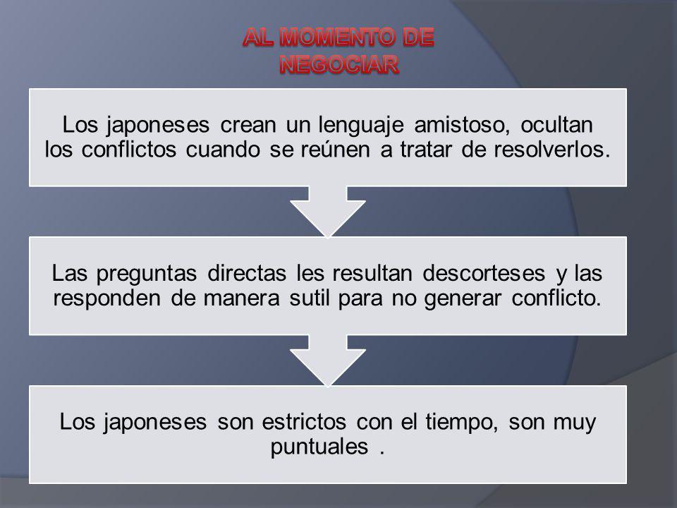 Los japoneses son estrictos con el tiempo, son muy puntuales. Las preguntas directas les resultan descorteses y las responden de manera sutil para no