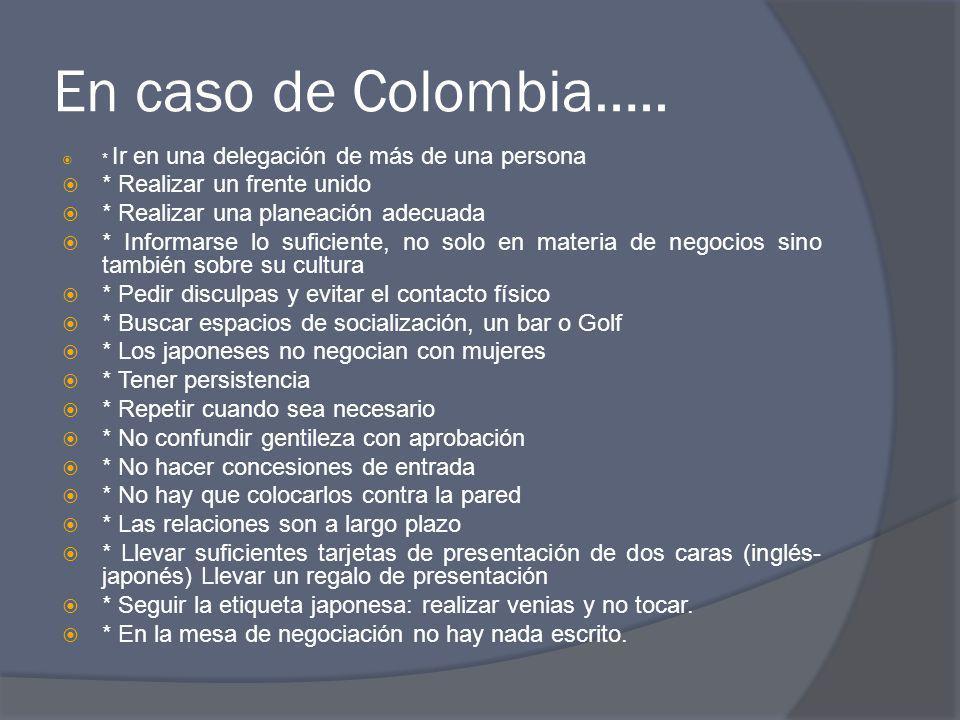 En caso de Colombia….. * Ir en una delegación de más de una persona * Realizar un frente unido * Realizar una planeación adecuada * Informarse lo sufi