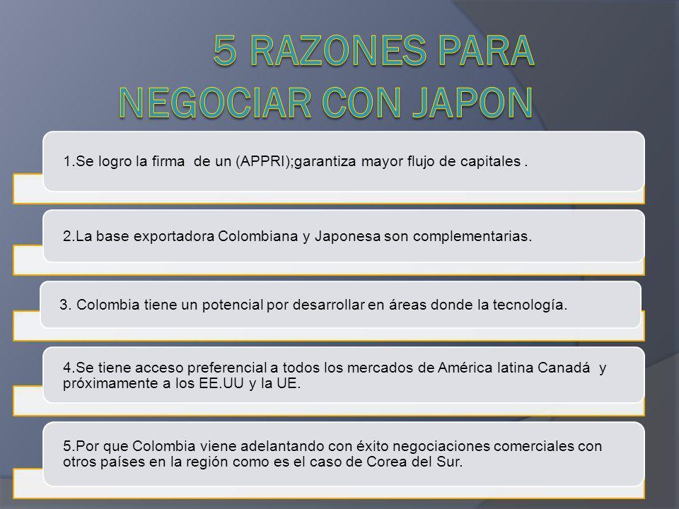 1.Se logro la firma de un (APPRI);garantiza mayor flujo de capitales. 2.La base exportadora Colombiana y Japonesa son complementarias. 3. Colombia tie