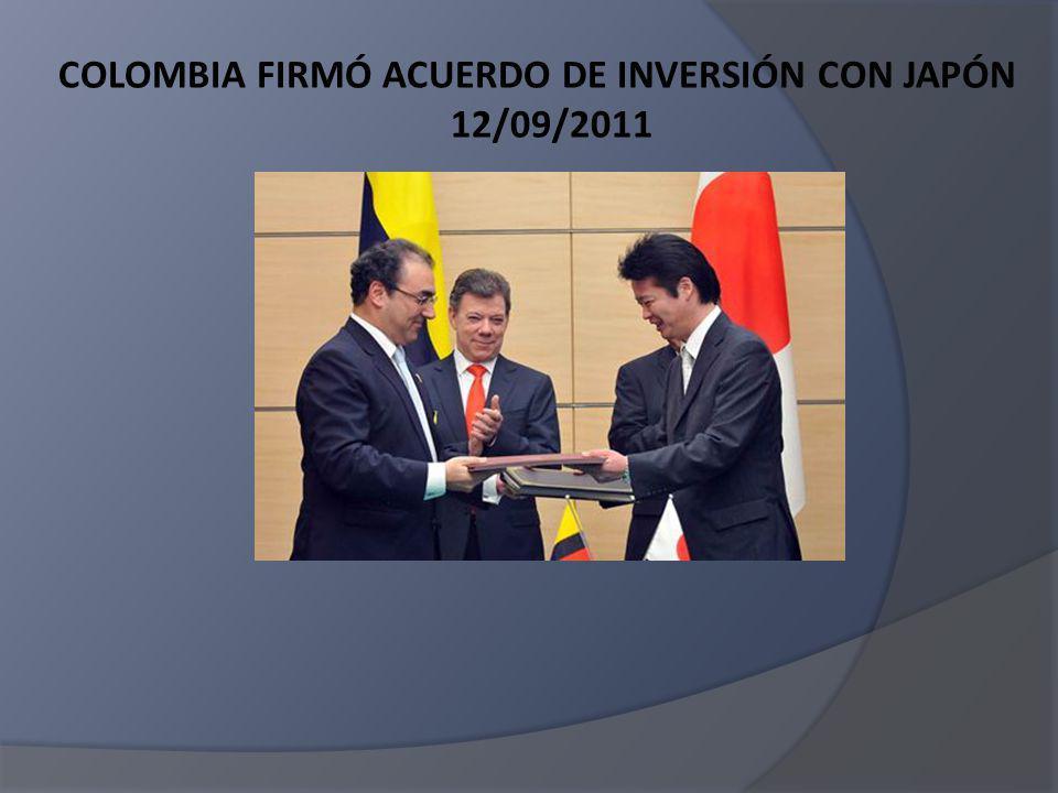 Los flujos de IED de JAPON en COLOMBIA en el periodo de tiempo comprendido entre 2001 y 2010 se ubicó en US$39.4 millones JAPON es el segundo país asiático con una participación de IED del 25.7% Durante el primer trimestre de 2011, Colombia recibió ingresos netos por inversión extranjera directa proveniente de Japón por US$1.5 millones.