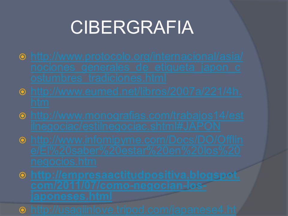 CIBERGRAFIA http://www.protocolo.org/internacional/asia/ nociones_generales_de_etiqueta_japon_c ostumbres_tradiciones.html http://www.protocolo.org/in