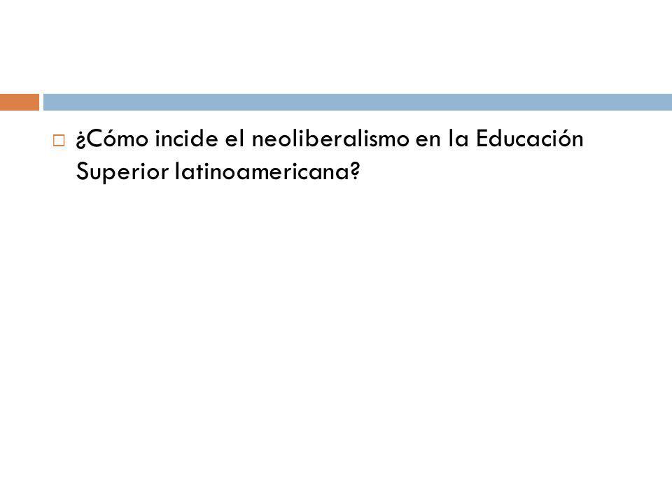 ¿Cómo incide el neoliberalismo en la Educación Superior latinoamericana