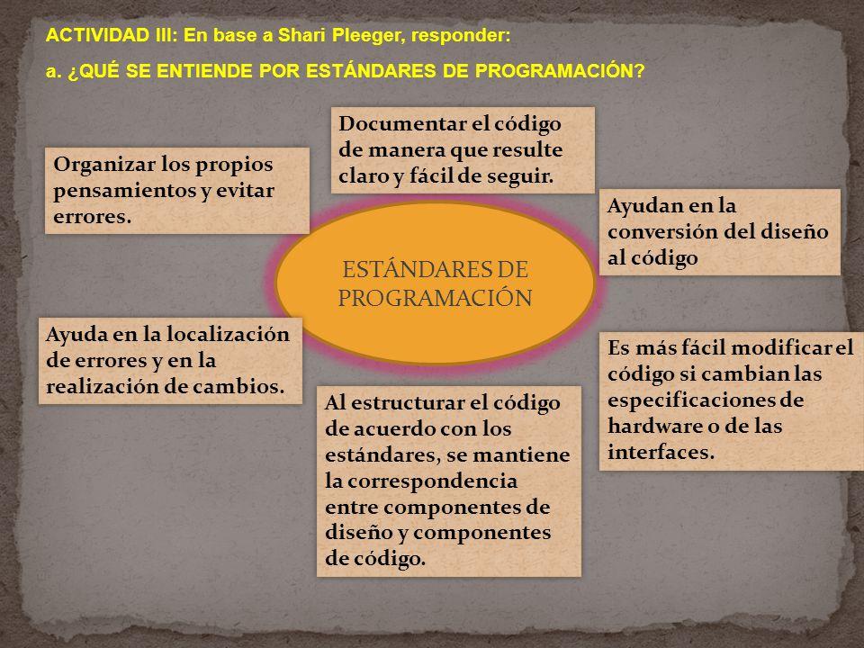ACTIVIDAD III: En base a Shari Pleeger, responder: a. ¿QUÉ SE ENTIENDE POR ESTÁNDARES DE PROGRAMACIÓN? ESTÁNDARES DE PROGRAMACIÓN Organizar los propio